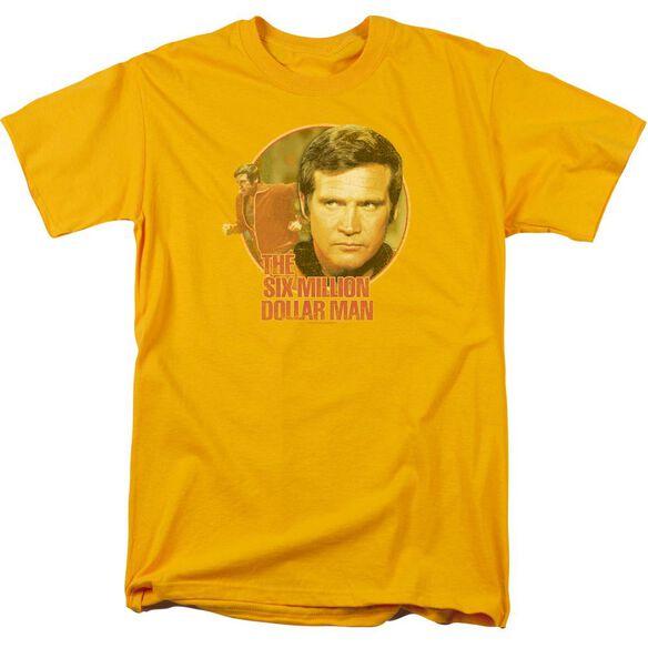 Six Million Dollar Man Run Faster Short Sleeve Adult Gold T-Shirt