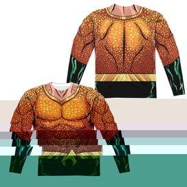 Jla Aquaman Rebirth Uniform (Front Back Print) Long Sleeve Adult Poly Crew T-Shirt