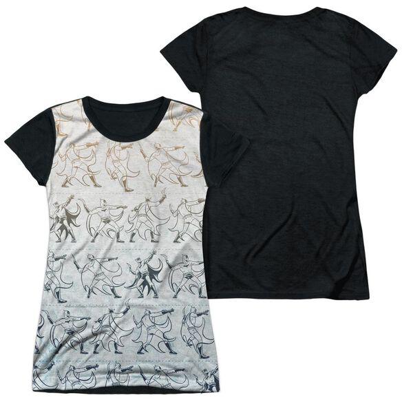 Batman Batarang Pattern Short Sleeve Junior Poly Black Back T-Shirt