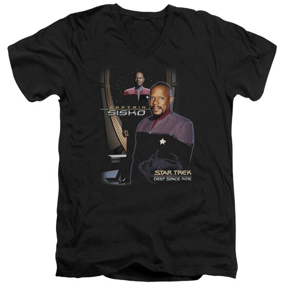 Star Trek Captain Sisko Short Sleeve Adult V Neck T-Shirt