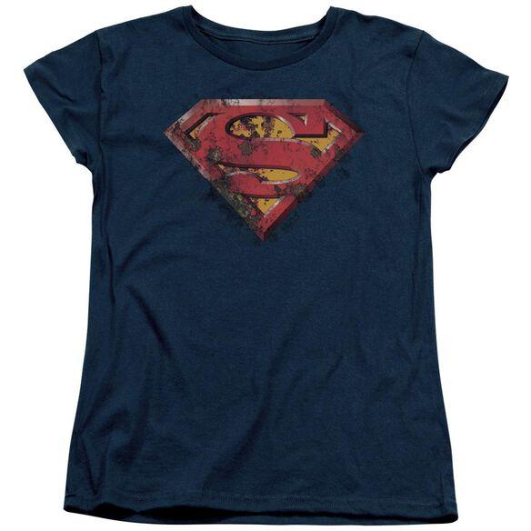 Superman Rusted Shield Short Sleeve Womens Tee T-Shirt