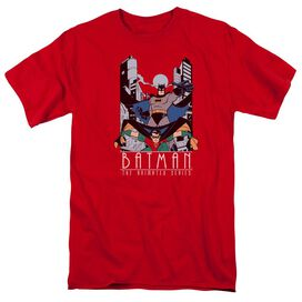 Batman The Animated Series Batman And Robin Short Sleeve Adult Red T-Shirt