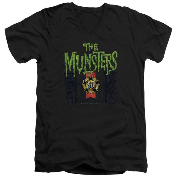 The Munsters 50 Year Logo Short Sleeve Adult V Neck T-Shirt