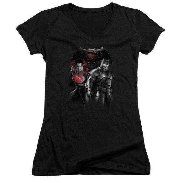 Batman V Superman Stand Off Junior V Neck T-Shirt
