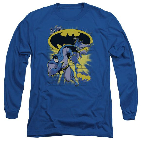 Batman Bb Action Collage Long Sleeve Adult Royal T-Shirt