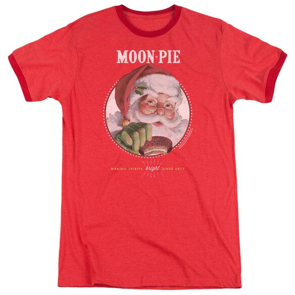 Moon Pie Snacks For Santa Adult Heather Ringer Red