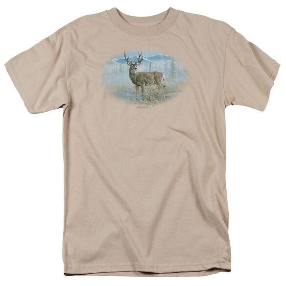 Wildlife Out Of The Mist Mule Deer Short Sleeve Adult Sand T-Shirt