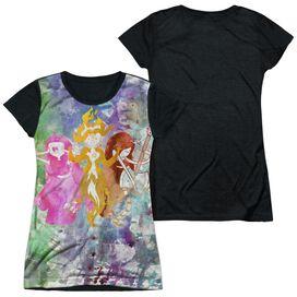 Adventure Time Three Ladies Short Sleeve Junior Poly Black Back T-Shirt