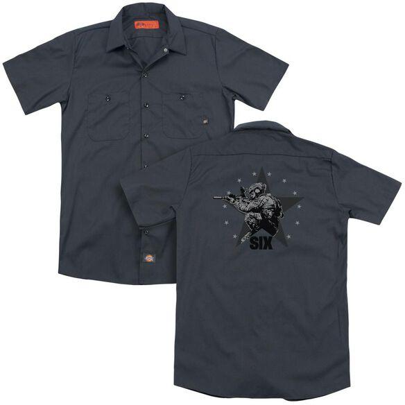Six Star Shooter (Back Print) Adult Work Shirt