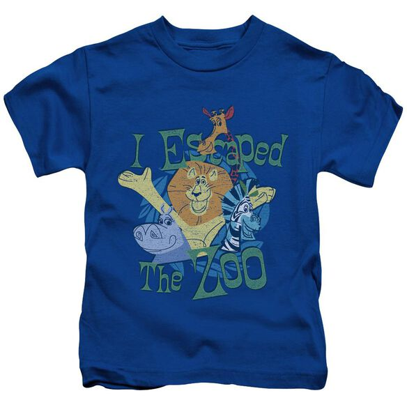Madagascar Escaped Short Sleeve Juvenile Royal Blue T-Shirt