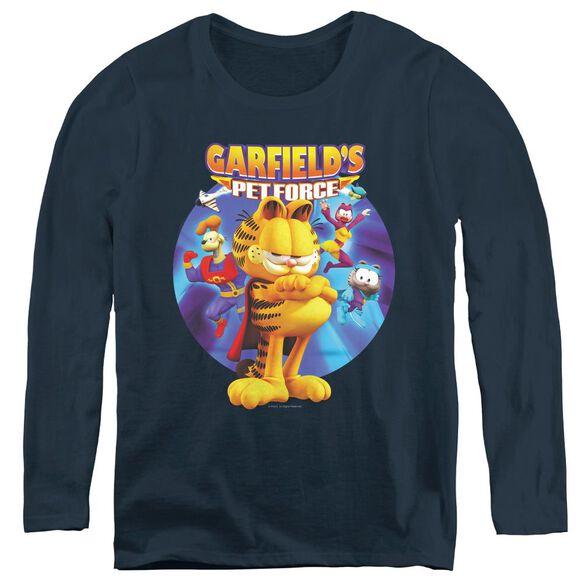 Garfield DVD Art - Womens Long Sleeve Tee - Navy