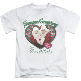 I Love Lucy Seasons Greetings Short Sleeve Juvenile White Md T-Shirt