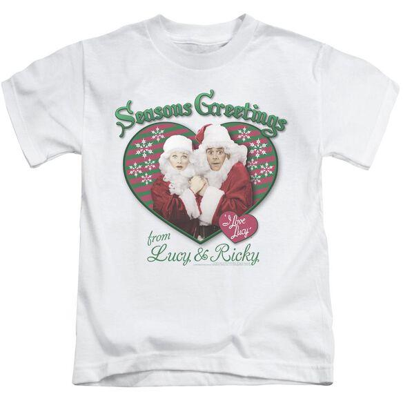 I Love Lucy Seasons Greetings Short Sleeve Juvenile White Md T-Shirt