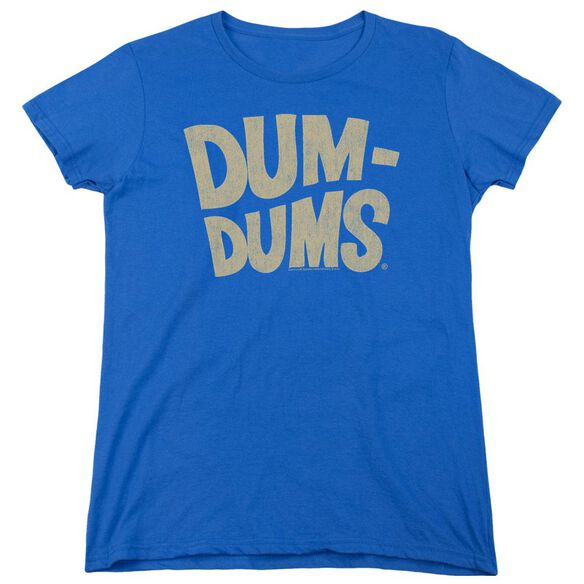 Dum Dums Distressed Logo Short Sleeve Womens Tee Royal T-Shirt