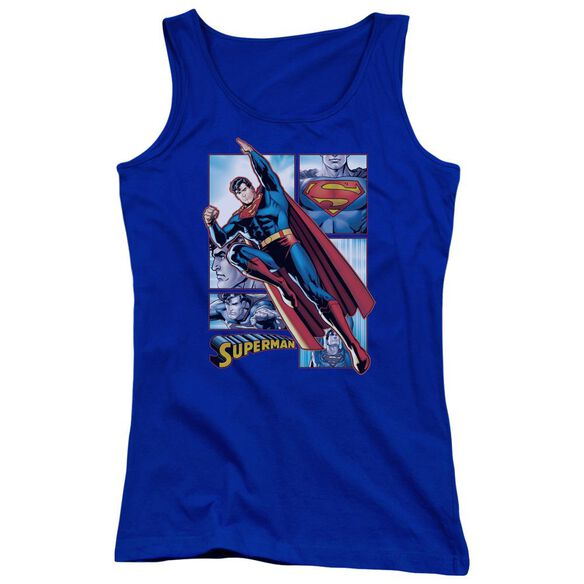 Jla Superman Panels Juniors Tank Top Royal