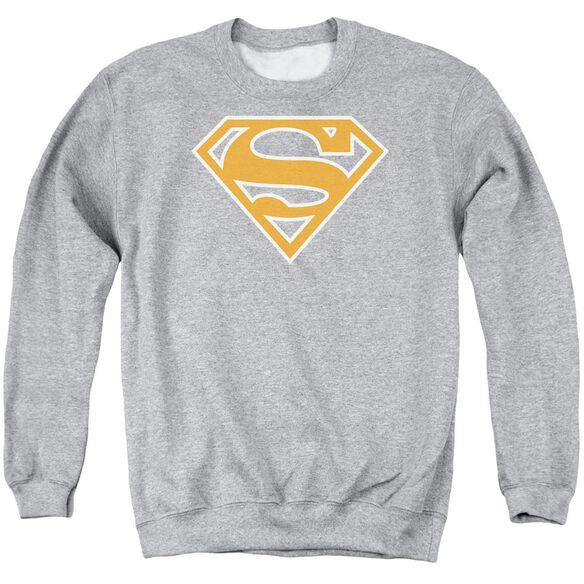 Superman Burnt Orange&white Shield - Adult Crewneck Sweatshirt - Athletic Heather