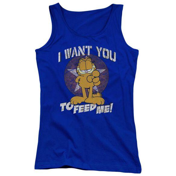 Garfield I Want You Juniors Tank Top Royal
