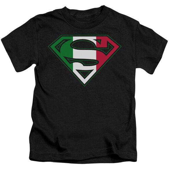 Superman Italian Shield Short Sleeve Juvenile Black Md T-Shirt