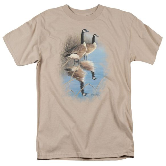 Wildlife Morning Reflections Canada Geese Short Sleeve Adult Sand T-Shirt