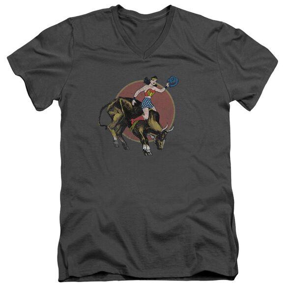 Jla Bull Rider Short Sleeve Adult V Neck T-Shirt