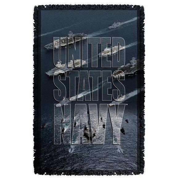 Navy Fleet Woven Throw
