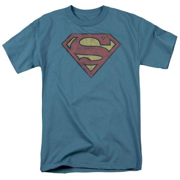 SUPERMAN GRITTY SHIELD - S/S ADULT 18/1 - SLATE T-Shirt