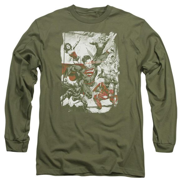 Jla And Red Long Sleeve Adult Military T-Shirt