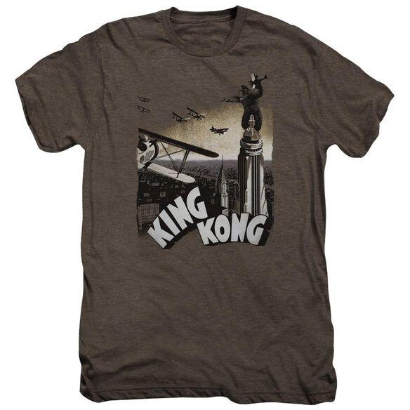 King Kong Final Battle Short Sleeve Adult Premium Tee Mocha T-Shirt