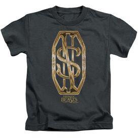 Fantastic Beasts Scamander Monogram Short Sleeve Juvenile Charcoal T-Shirt