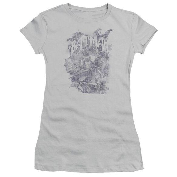 Batman Pencil Bat Collage Short Sleeve Junior Sheer T-Shirt