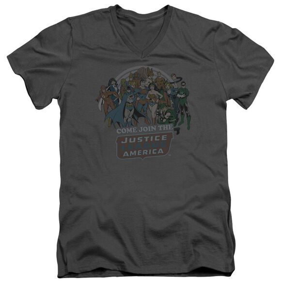 Dc Join The Justice League Short Sleeve Adult V Neck T-Shirt