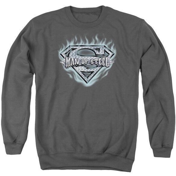 Superman Man Of Steel Shield - Adult Crewneck Sweatshirt - Charcoal