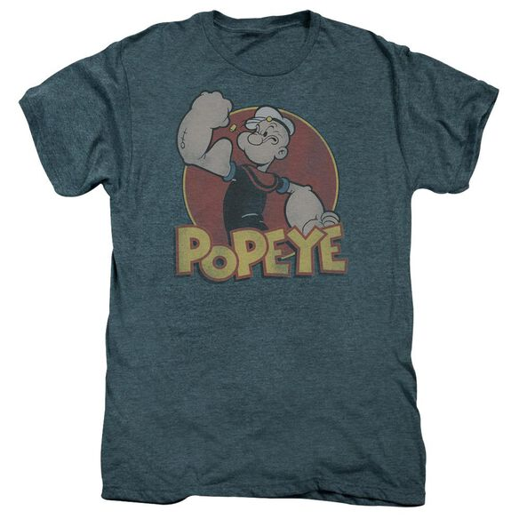 Popeye Retro Ring Short Sleeve Adult Premium Tee Steel Blue T-Shirt
