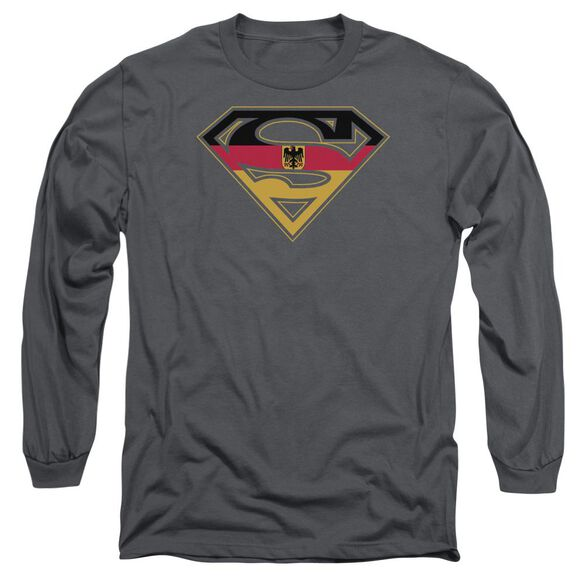 Superman German Shield Long Sleeve Adult T-Shirt