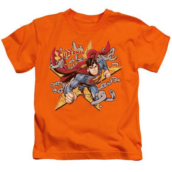 Superman Stars And Chains Short Sleeve Juvenile Orange T-Shirt