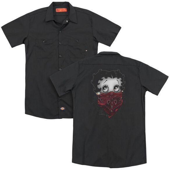 Betty Boop Bandana & Roses (Back Print) Adult Work Shirt