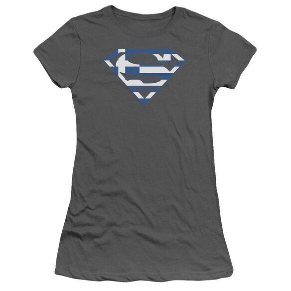 SUPERMAN GREEK SHIELD - S/S JUNIOR SHEER - CHARCOAL T-Shirt