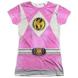 Power Rangers Pink Ranger Emblem Short Sleeve Junior Poly Crew T-Shirt