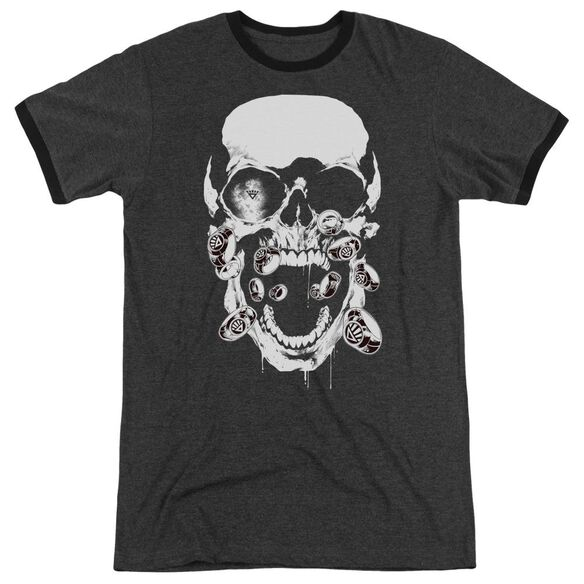 Green Lantern Black Lantern Skull Adult Heather Ringer Charcoal