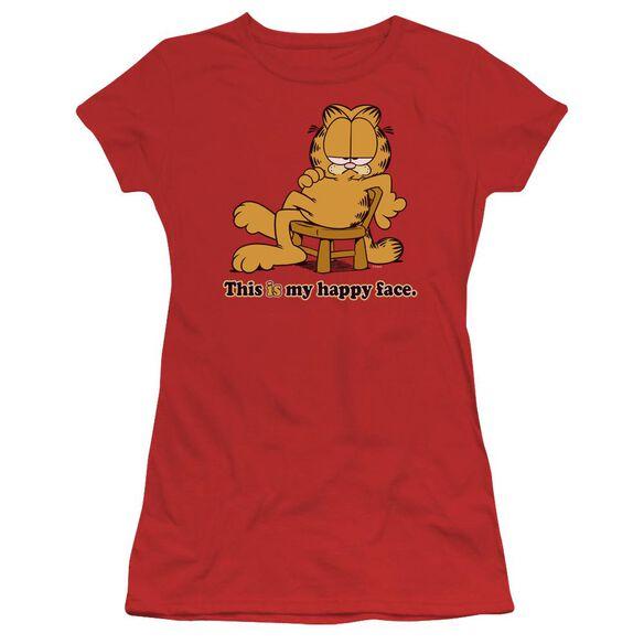 Garfield Happy Face Short Sleeve Junior Sheer T-Shirt