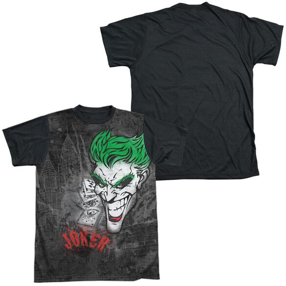 Batman Joker Sprays The City Short Sleeve Adult Front Black Back T-Shirt