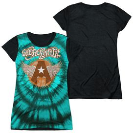 Aerosmith Tie Dye Short Sleeve Junior Poly Black Back T-Shirt