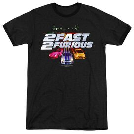 2 Fast 2 Furious Logo - Adult Heather Ringer - Black