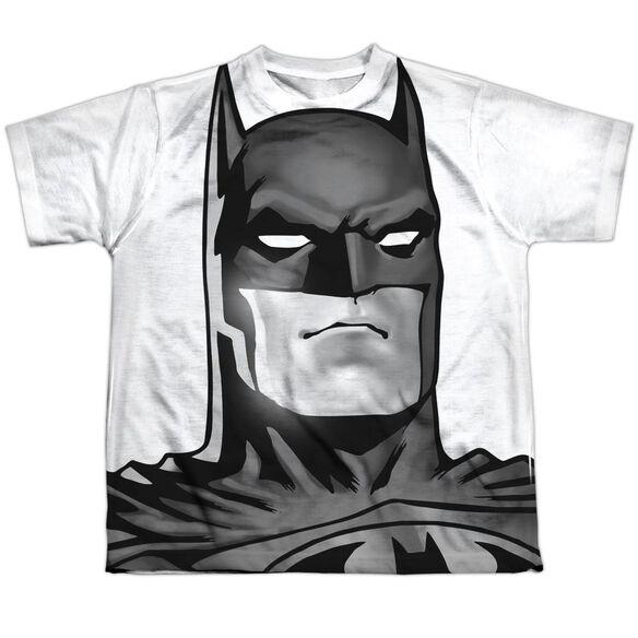 Batman Bw Bat Head Short Sleeve Youth Poly Crew T-Shirt