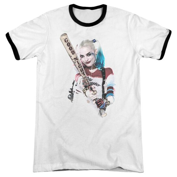 Suicide Squad Bat At You Adult Ringer White Black