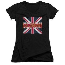 Def Leppard Union Jack Junior V Neck T-Shirt