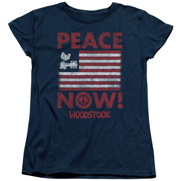 Woodstock Peace Now Short Sleeve Womens Tee T-Shirt