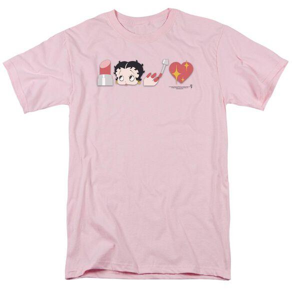 Betty Boop Symbols Short Sleeve Adult Pink T-Shirt