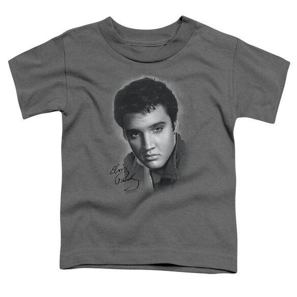 Elvis Grey Portrait Short Sleeve Toddler Tee Charcoal Lg T-Shirt
