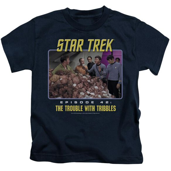 St:Original The Trouble With Tribbles Short Sleeve Juvenile Navy T-Shirt